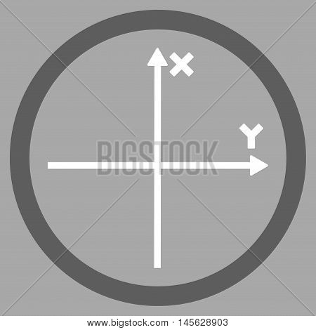 Cartesian Axis vector bicolor rounded icon. Image style is a flat icon symbol inside a circle, dark gray and white colors, silver background. Vector illustration.
