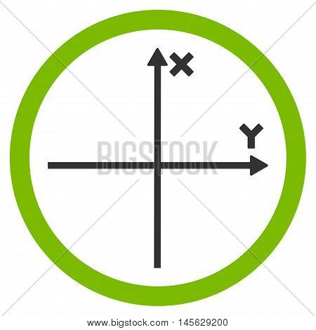 Cartesian Axis vector bicolor rounded icon. Image style is a flat icon symbol inside a circle, eco green and gray colors, white background.