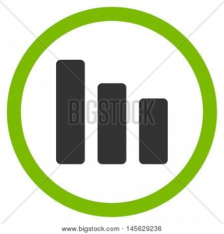 Bar Chart Decrease vector bicolor rounded icon. Image style is a flat icon symbol inside a circle, eco green and gray colors, white background.
