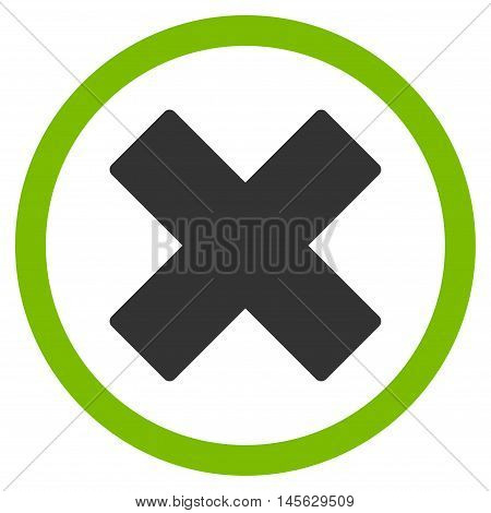 Delete X-Cross vector bicolor rounded icon. Image style is a flat icon symbol inside a circle eco green and gray colors white background.