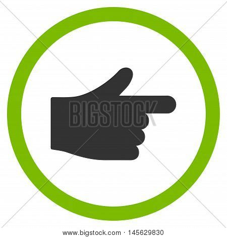Index Pointer vector bicolor rounded icon. Image style is a flat icon symbol inside a circle, eco green and gray colors, white background.