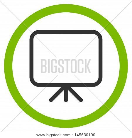 Presentation Screen vector bicolor rounded icon. Image style is a flat icon symbol inside a circle, eco green and gray colors, white background.