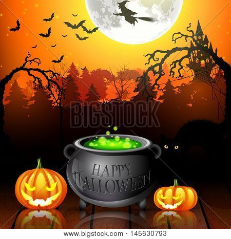 Halloween party background with pumpkins, pot and flying witches in full moon
