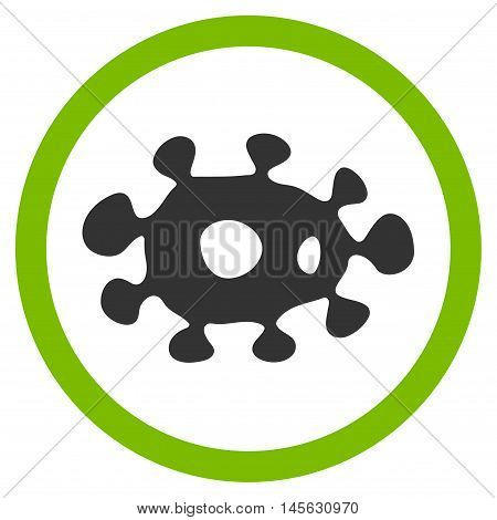 Virus vector bicolor rounded icon. Image style is a flat icon symbol inside a circle, eco green and gray colors, white background.