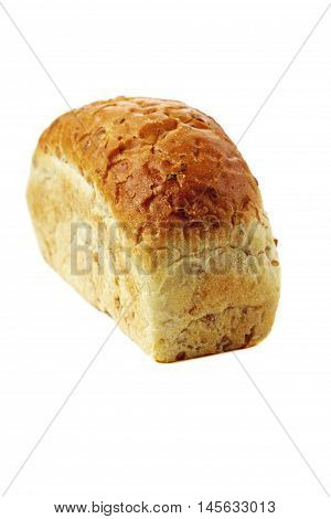 Organic flax bread with seeds. Healthy and natural food. Isolated on white.