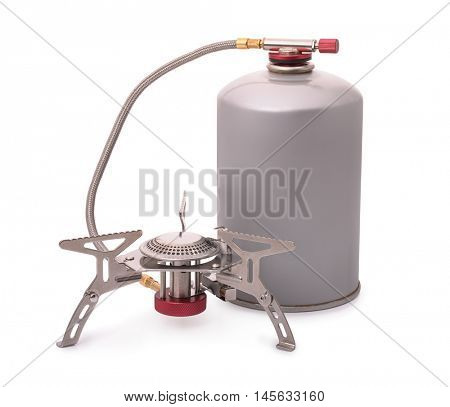 Portable camping burner stove isolated on white