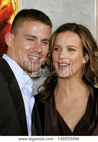 Channing Tatum and Rachel Griffiths at the Los Angeles premiere of 'Step Up' held at the Arclight Cinemas in Hollywood, USA on August 7, 2006.