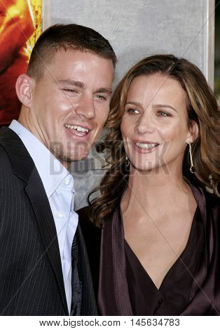 Rachel Griffiths and Channing Tatum at the Los Angeles premiere of 'Step Up' held at the Arclight Cinemas in Hollywood, USA on August 7, 2006.
