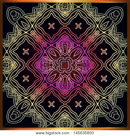 Colorful patterned ethnic background. Arabesque ornament in the frame