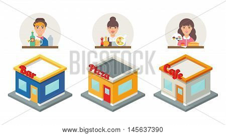 Small business - bar, pizzeria, cafe. Vector illustration