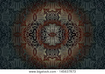 Decorative abstract floral background mandala geometric pattern with ornate lace frame tribal ethnic ornament. vector