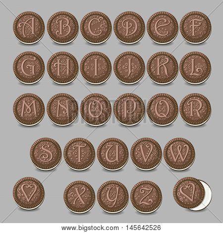 Chocolate cookies font. Artistic sweet alphabet. Round cookies with letters and decor. Vector illustration