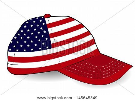 Baseball cap with USA flag on white background. Patriotic cap. Stars and Stripes.