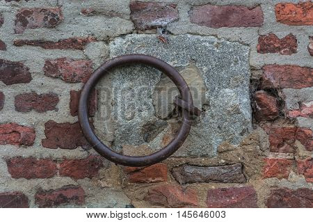 Iron ring on a wall used earlier fasten the horses.