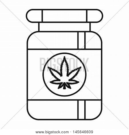 Bottle with medical marijuana icon in outline style isolated on white background. Vector illustration