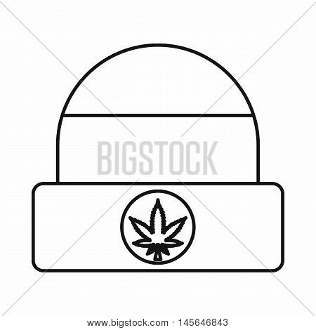 Rastafarian cap with marijuana leaf icon in outline style isolated on white background. Vector illustration