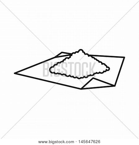 Marijuana on rolling paper icon in outline style isolated on white background. Vector illustration
