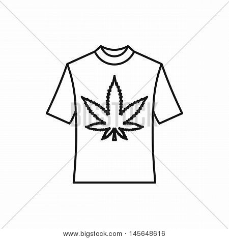 T-shirt with marijuana leaf icon in outline style isolated on white background. Vector illustration