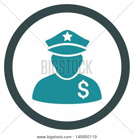 Financial Policeman vector bicolor rounded icon. Image style is a flat icon symbol inside a circle, soft blue colors, white background.