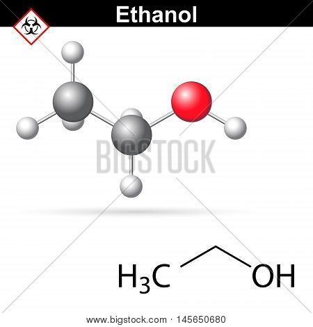 Ethanoll molecule - structural chemical formula and model 2d and 3d vector illustration isolated on white background eps 8