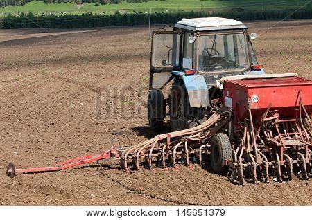 Tractors Planting Farm Fields
