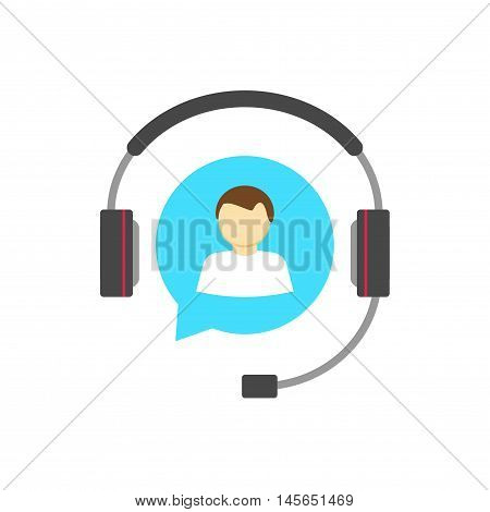 Customer help desk logo concept, customer support service vector icon isolated, flat white hotline support assistance agent in blue bubble speech with headphone, operator person in headset talking