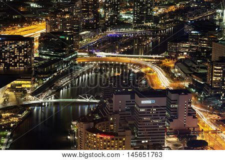 Melbourne, Australia - August 27, 2016: Aerial night view of Melbourne CBD and Yarra River. Melbourne Victoria Australia