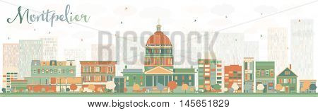 Abstract Montpelier (Vermont) Skyline with Color Buildings. Vector Illustration. Business Travel and Tourism Concept with Modern Buildings. Image for Presentation, Banner, Placard and Web Site