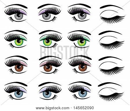 vector illustration of a set of eyes with long lashes