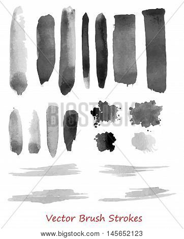 Vector set of rough brush strokes isolated over white. Each stroke is  separated group. Grunge vector elements for design