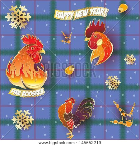Vector seamless pattern background with hand-painted New Year holiday symbols Fire Roosters on a blue tablecloth
