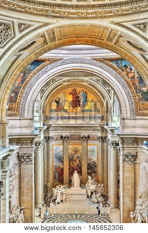 PARIS FRANCE - JULY 05 2016 : Inside interior of French Mausoleum for Great People of France - the Pantheon in Paris.