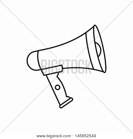 Loudspeaker icon in outline style isolated on white background. Vector illustration