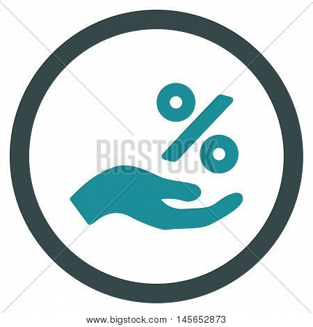 Percent Offer Hand vector bicolor rounded icon. Image style is a flat icon symbol inside a circle, soft blue colors, white background.