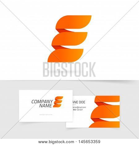 Abstract elegant orange letter E logo isolated on white background in fire style, concept of power energy sign, elegance geometric brand ribbon, creative trendy element design
