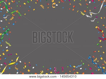 Confetti and streamer frame on black background