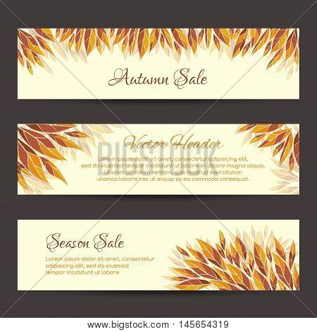 Autumn sale headers template. Set of vector headers, banners with autumn leaves