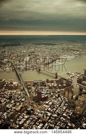 New York City Manhattan aerial view with east river and bridges