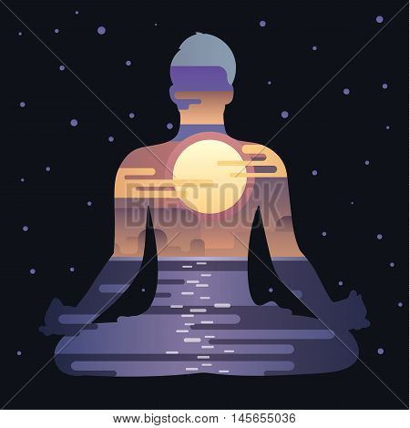 Healthy lifestyle concept. Vector full moon background with silhouette of man practicing yoga in the lotus position. Yoga exercises and recreation. Yoga lifestyle.