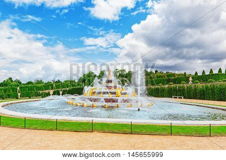 Versailles, France - July 02, 2016 :latona Fountain Pool, Opposite The Main Building Of The Palace O