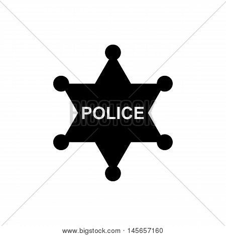 Police star icon. Silhouette flat design vector illustration