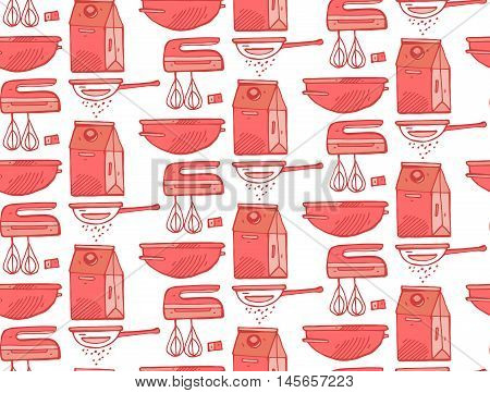 Kitchen utensils seamless pattern.Hand draw doodle illustration.Kitchenware and cooking utensils colorful.