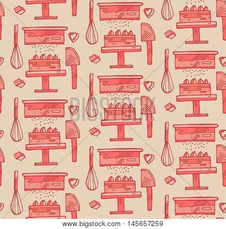 Bakery products hand drawn seamless pattern. Vector illustration of bakery materials.Bakery tools pattern .It can be used for signage logos branding product launches.