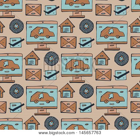 Vector seamless pattern with hand drawn isolated symbols of car servise and sale. Background for use in design packing textile fabrics and childrens room.Vector seamless pattern on the theme of transport.