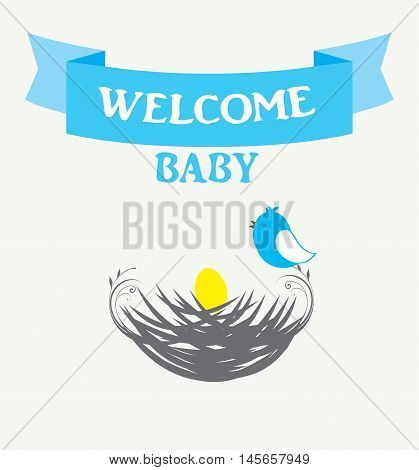 vector illustration of a baby bird nest baby shower card