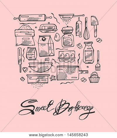 Thin line sweet bakery kitchen hand draw vector icons set. Icons for food and drink restaurant cafe and bar food delivery on pink background.
