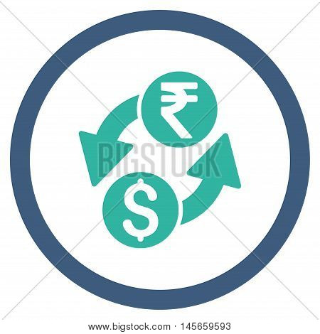 Dollar Rupee Exchange vector bicolor rounded icon. Image style is a flat icon symbol inside a circle, cobalt and cyan colors, white background.