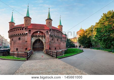 Kracow barbican - medieval fortifcation at city walls Poland
