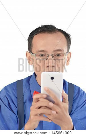 Nerdy Man Holding Cellphone And Look Concentration