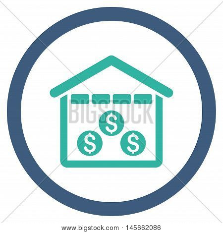Money Depository vector bicolor rounded icon. Image style is a flat icon symbol inside a circle cobalt and cyan colors white background.